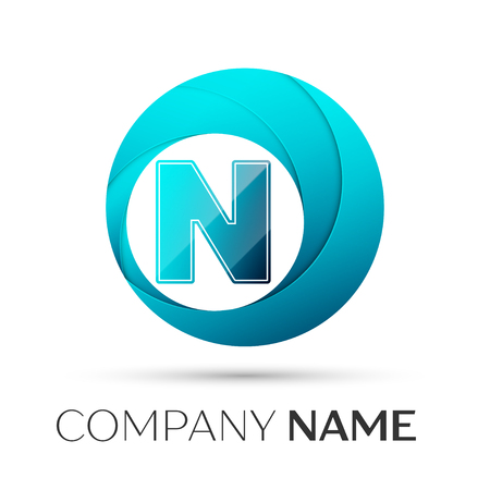 cyan business: Letter N vector logo symbol in the colorful circle on grey background. Vector template for your design Illustration