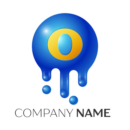 O, Letter splash logo. Blue dots and bubbles letter design on grey background. Vector Illustration