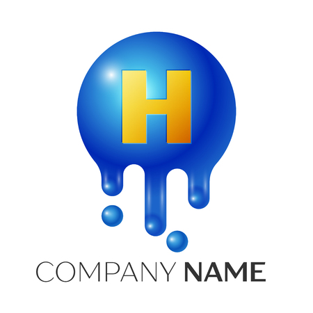 H Letter splash logo. Blue dots and bubbles letter design on grey background. Vector Illustration