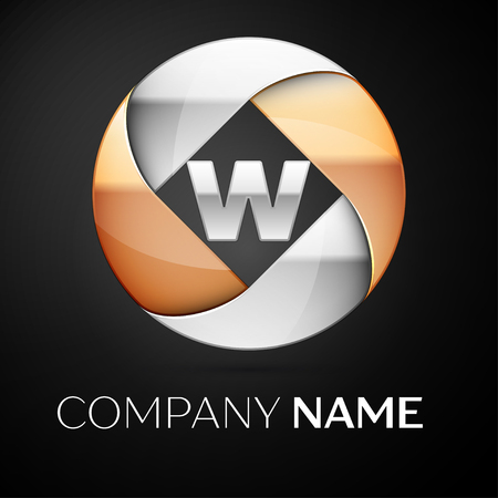 Letter W vector logo symbol in the colorful circle on black background. Vector template for your design