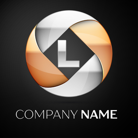 Letter L vector logo symbol in the colorful circle on black background. Vector template for your design