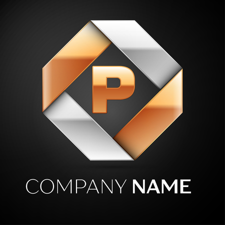 Letter P vector logo symbol in the colorful rhombus on black background. Vector template for your design Illustration