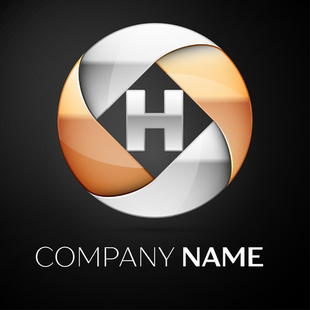 Letter H vector logo symbol in the colorful circle on black background. Vector template for your design