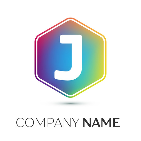 Letter J vector logo symbol in the colorful hexagonal on grey background. Vector template for your design