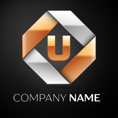 Letter U vector logo symbol in the colorful rhombus on black background. Vector template for your design Illustration