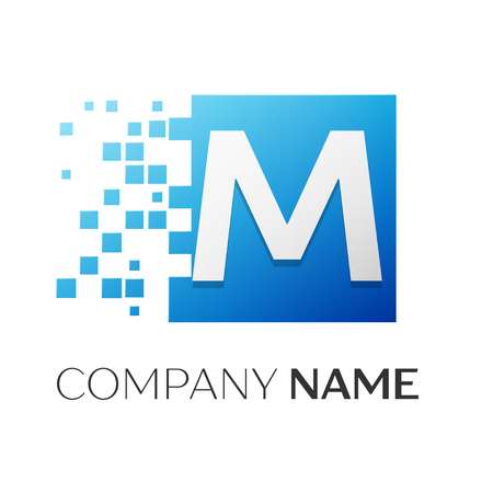 Letter M vector logo symbol in the colorful square with shattered blocks on white background. Vector template for your design Illustration