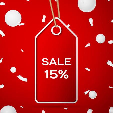 fifteen: Red pennant with an inscription Big Sale fifteen percent Discounts over a red background and confetti.  Vector illustration Illustration