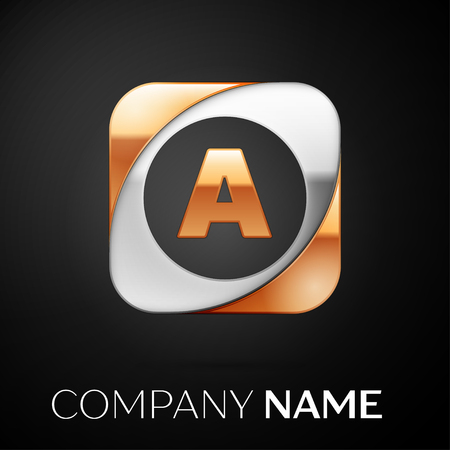 Letter A vector logo symbol in the colorful square on black background. Vector template for your design