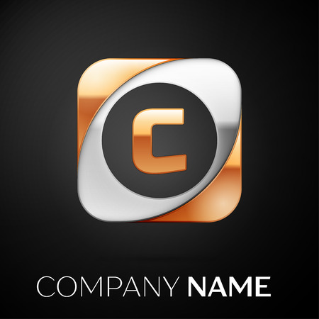 Letter C vector logo symbol in the colorful square on black background. Vector template for your design Illustration