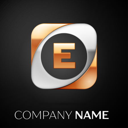 Letter E vector logo symbol in the colorful square on black background. Vector template for your design