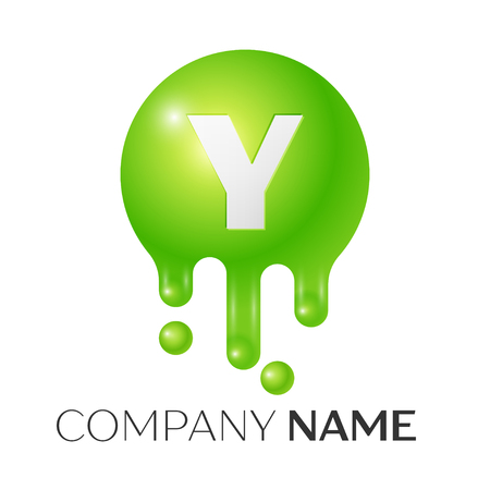 Y Letter splash logo. Green dots and bubbles letter design on white background. Vector Illustration