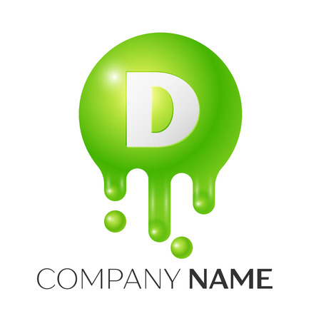 D Letter splash logo. Green dots and bubbles letter design on white background. Vector Illustration Ilustracja