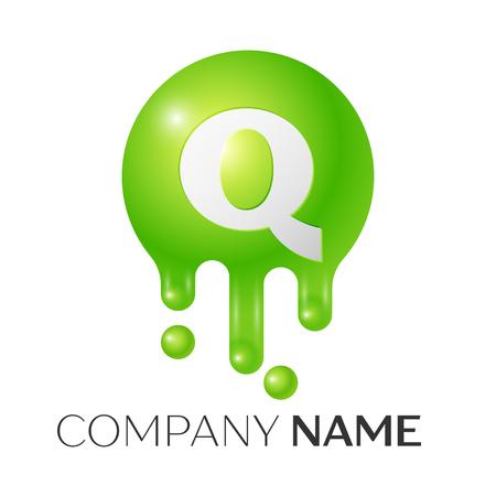 Q Letter splash logo. Green dots and bubbles letter design on white background. Vector Illustration