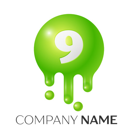 Number nine splash logo. Green dots and bubbles number design on grey background. Vector Illustration