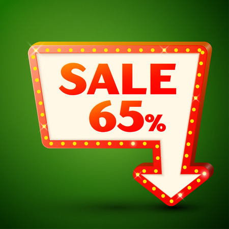Retro billboard with shining lamps and arrow with inscription sale 65 percent discounts on green background. Business banner, shopping promotion poster, bright signboard. Vector illustration Illustration