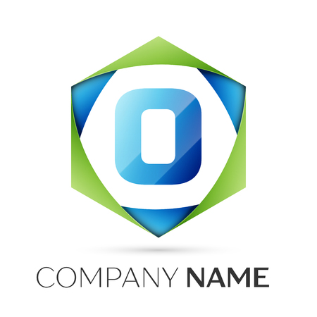 Letter O vector logo symbol in the colorful hexagonal on grey background. Vector template for your design