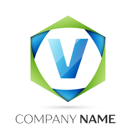 Letter V vector logo symbol in the colorful hexagonal on grey background. Vector template for your design