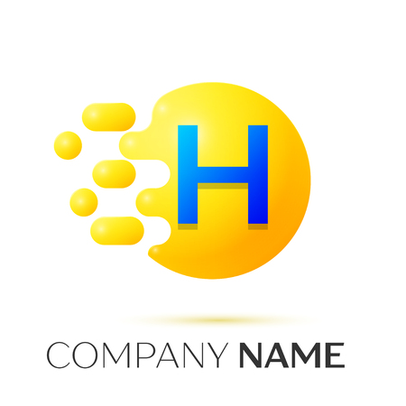 H Letter splash logo. Yellow dots and circle bubble letter design on grey background. Vector Illustration