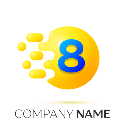 Number eight splash logo. Yellow dots and bubbles number design on grey background. Vector Illustration