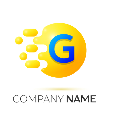 G Letter splash logo. Yellow dots and circle bubble letter design on grey background. Vector Illustration Illustration