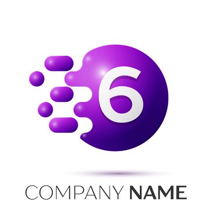 Number six splash logo. Purple dots and bubbles number design on grey background. Vector Illustration