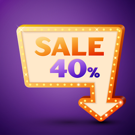 40: Retro billboard with shining lamps and arrow with inscription sale 40 percent discounts on purple background. Business banner, shopping promotion poster, bright signboard. Vector illustration