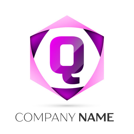 Letter Q vector logo symbol in the colorful hexagonal on grey background. Vector template for your design