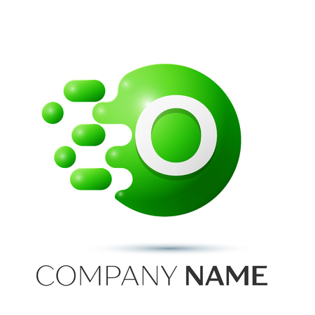 O Letter splash logo. Green dots and circle bubble letter design on grey background. Vector Illustration