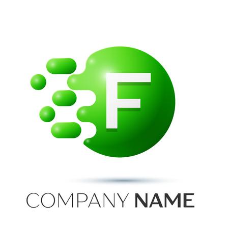 F Letter splash logo. Green dots and circle bubble letter design on grey background. Vector Illustration