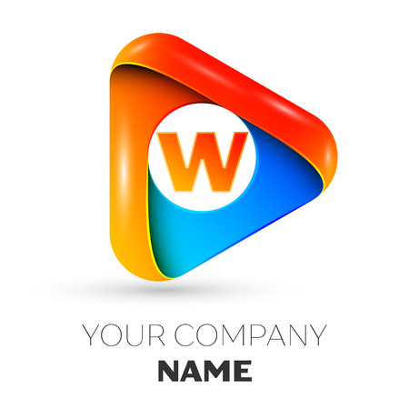 Letter W vector logo symbol in the colorful triangle on grey background. Vector template for your design