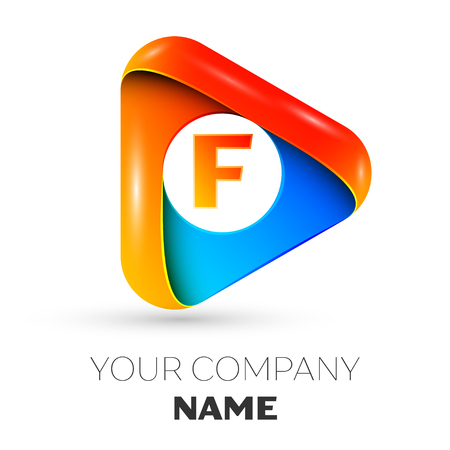 Letter F vector logo symbol in the colorful triangle on grey background. Vector template for your design Logo