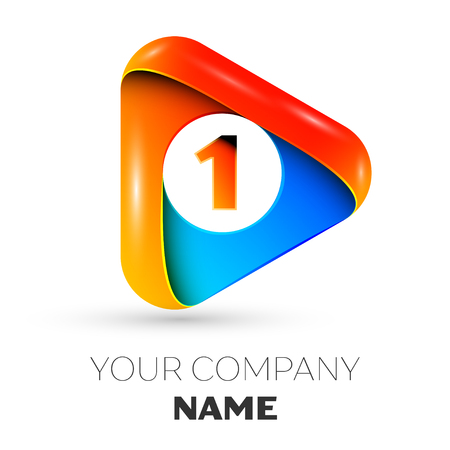 Number one vector logo symbol in the colorful triangle on grey background. Vector template for your design