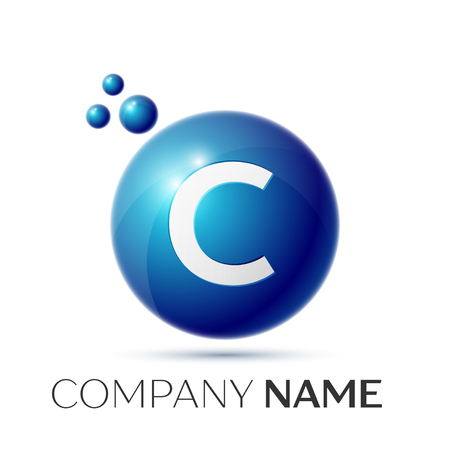 C Letter splash logo. Blue dots and circle bubble letter design on grey background. Vector Illustration