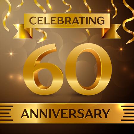 60 주년 축 하 디자인입니다. 황금 배경에 색종이와 골드 리본. 생일 파티에 대 한 다채로운 벡터 템플릿 요소입니다. 기념일 리본 일러스트