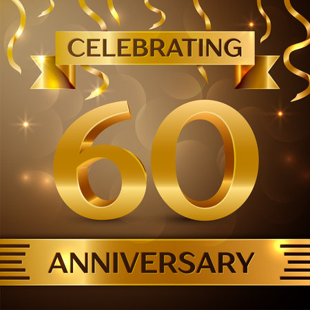 Sixty Years Anniversary Celebration Design. Confetti and gold ribbon on golden background. Colorful Vector template elements for your birthday party. Anniversary ribbon Vectores