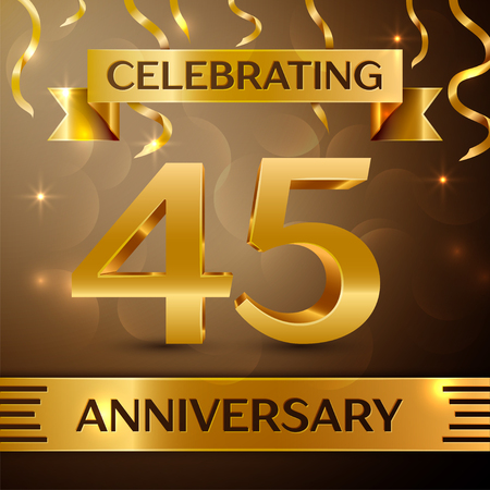 Forty five Years Anniversary Celebration Design. Confetti and gold ribbon on golden background. Colorful Vector template elements for your birthday party. Anniversary ribbon Illustration