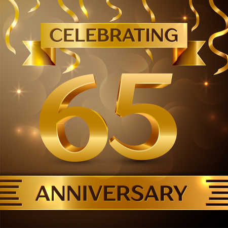 Sixty five Years Anniversary Celebration Design. Confetti and gold ribbon on golden background. Colorful Vector template elements for your birthday party. Anniversary ribbon