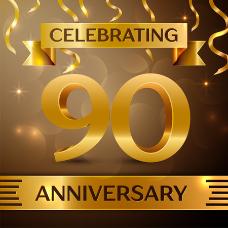 90th: Ninety Years Anniversary Celebration Design. Confetti and gold ribbon on golden background. Colorful Vector template elements for your birthday party. Anniversary ribbon Illustration