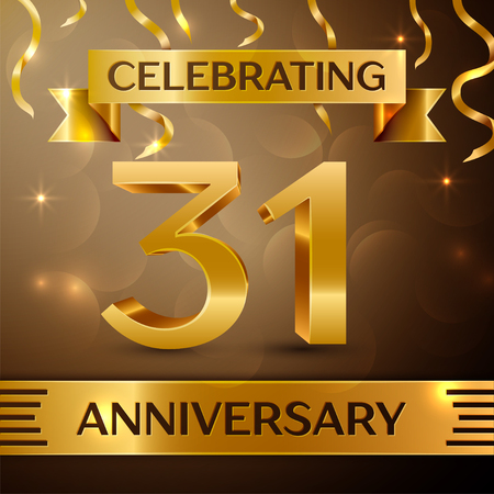 31th: Thirty one Years Anniversary Celebration Design. Confetti and gold ribbon on golden background. Colorful Vector template elements for your birthday party. Anniversary ribbon