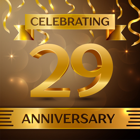 Twenty nine Years Anniversary Celebration Design. Confetti and gold ribbon on golden background. Colorful Vector template elements for your birthday party. Anniversary ribbon