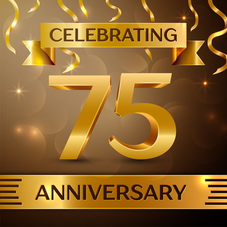 seventy: Seventy five Years Anniversary Celebration Design. Confetti and gold ribbon on golden background. Colorful Vector template elements for your birthday party. Anniversary ribbon Illustration