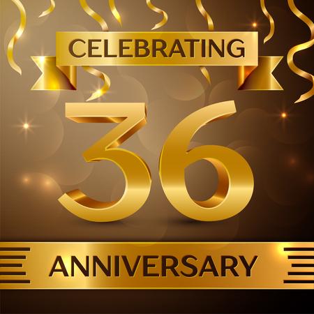 Zesendertig jaar jubileum viering ontwerp. Confetti en gouden lint op gouden achtergrond. Kleurrijke vector sjabloon elementen voor uw verjaardagsfeestje. Verjaardag lint