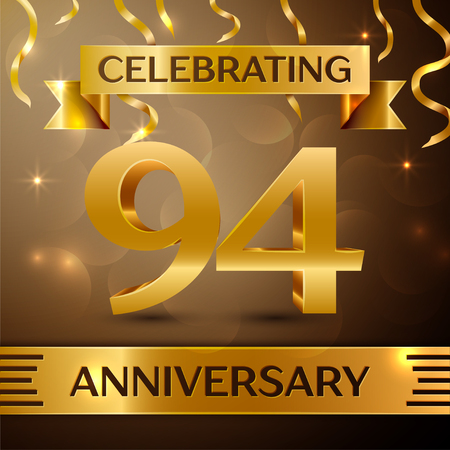 Ninety four Years Anniversary Celebration Design. Confetti and gold ribbon on golden background. Colorful Vector template elements for your birthday party. Anniversary ribbon