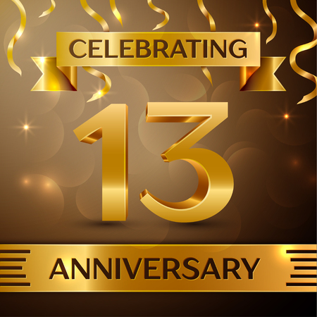 13th: Thirteen Years Anniversary Celebration Design. Confetti and gold ribbon on golden background. Colorful Vector template elements for your birthday party. Anniversary ribbon Illustration