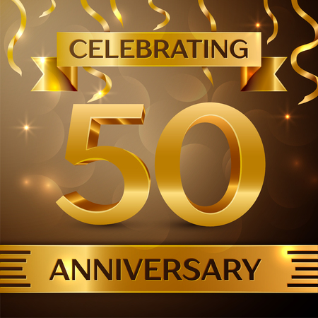 Fifty Years Anniversary Celebration Design. Confetti and gold ribbon on golden background. Colorful Vector template elements for your birthday party. Anniversary ribbon Vectores