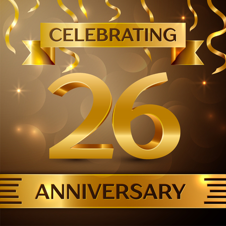 Twenty six Years Anniversary Celebration Design. Confetti and gold ribbon on golden background. Colorful Vector template elements for your birthday party. Anniversary ribbon