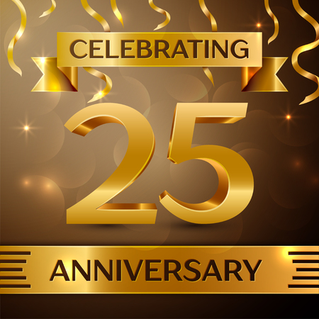 Twenty five Years Anniversary Celebration Design. Confetti and gold ribbon on golden background. Colorful Vector template elements for your birthday party. Anniversary ribbon