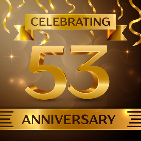 Fifty three Years Anniversary Celebration Design. Confetti and gold ribbon on golden background. Colorful Vector template elements for your birthday party. Anniversary ribbon