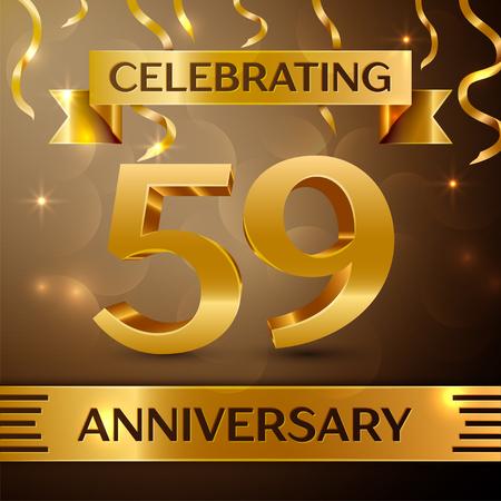 Het ontwerp van de viering van de fifty negen jaar verjaardag. Confettien en gouden lint op gouden achtergrond. Kleurrijke vector sjabloon elementen voor uw verjaardagsfeestje. Verjaardag lint