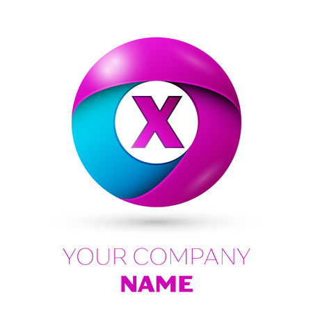 Letter X vector logo symbol in the colorful circle on white background. Vector template for your design